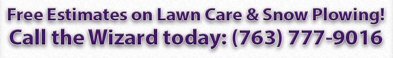 Free Estimates on Lawn Care & Snow Plowing! Call the Wizard today: (651) 636-2432